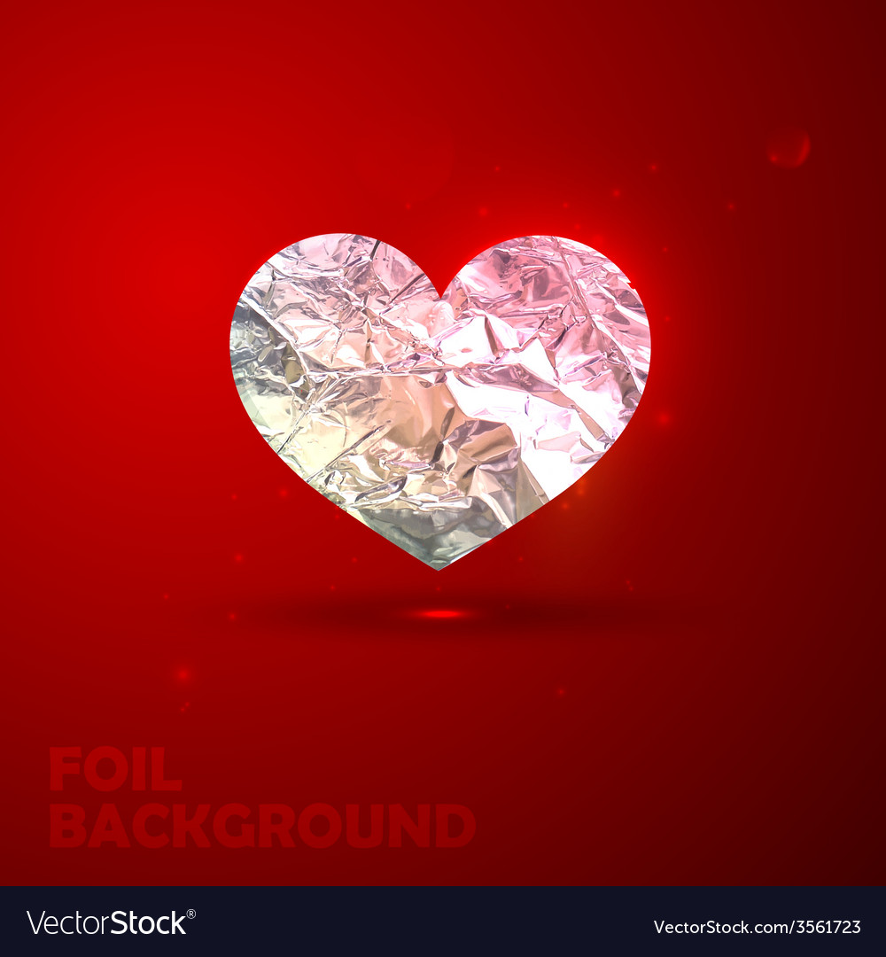 Silver heart with foil texture valentine vector | Price: 1 Credit (USD $1)