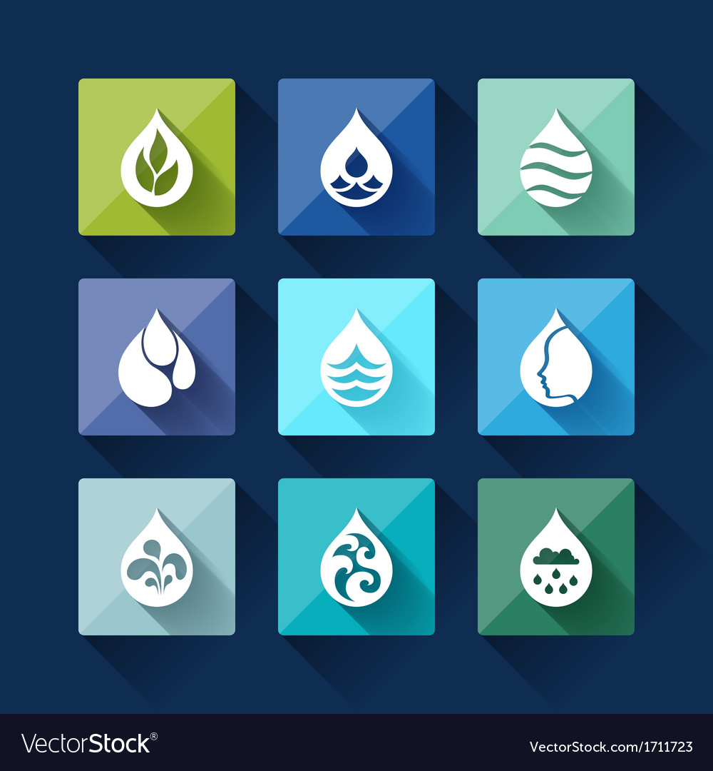 Water drop icons in flat design style vector   Price: 1 Credit (USD $1)