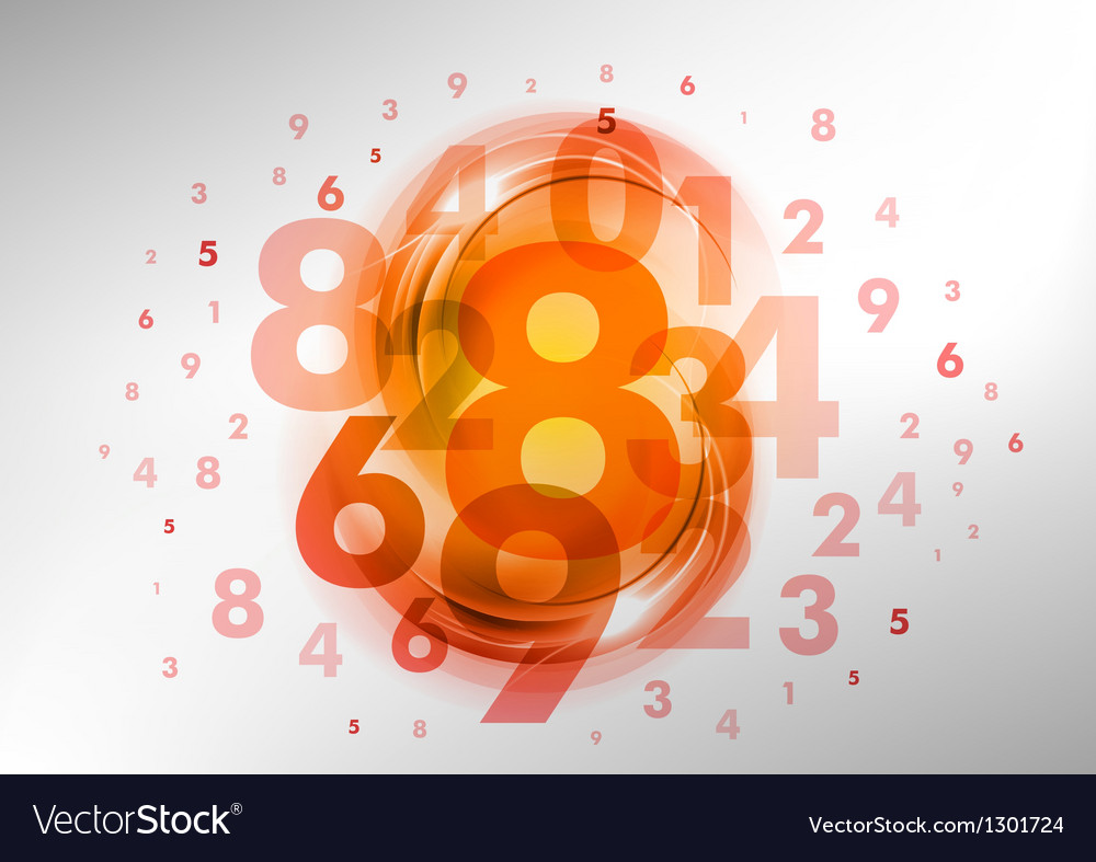 Abstract numbers orange vector | Price: 1 Credit (USD $1)