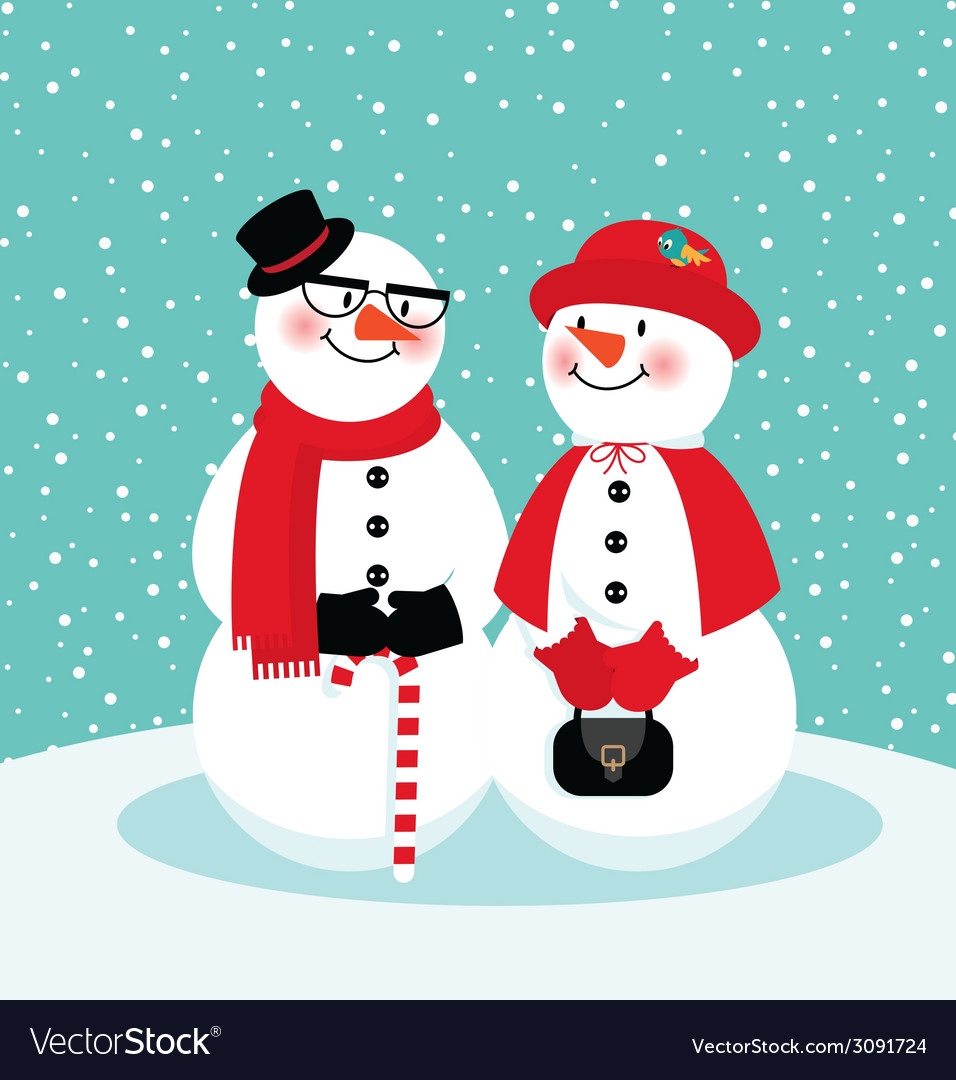 Couple of snowmen vector | Price: 1 Credit (USD $1)