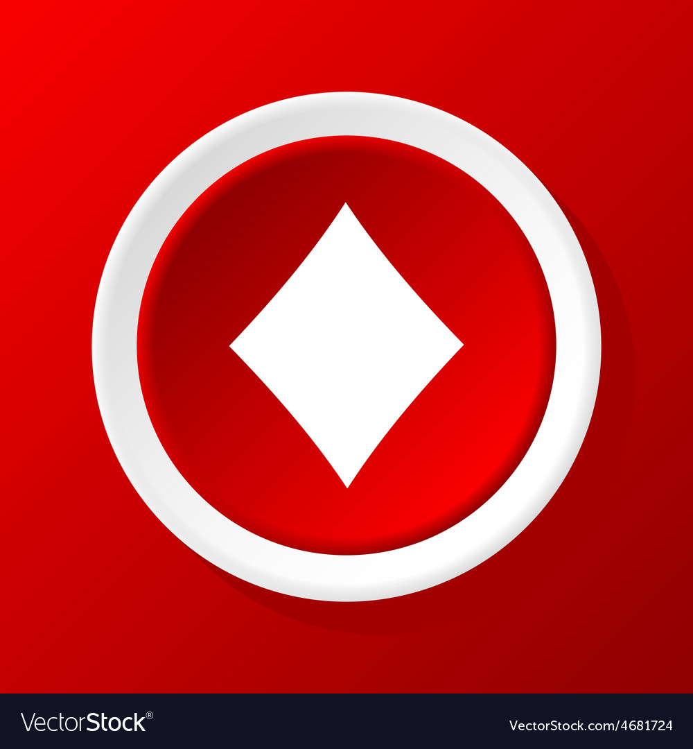 Diamonds icon on red vector | Price: 1 Credit (USD $1)