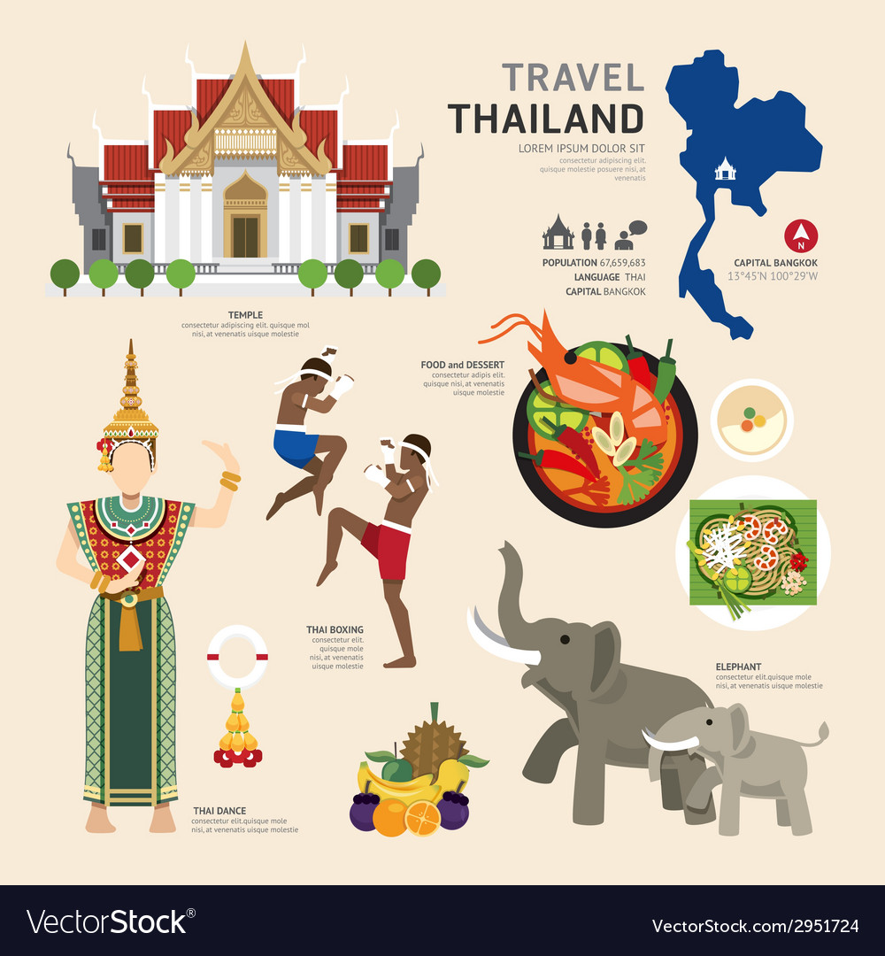 Travel concept thailand landmark flat icons design vector | Price: 1 Credit (USD $1)