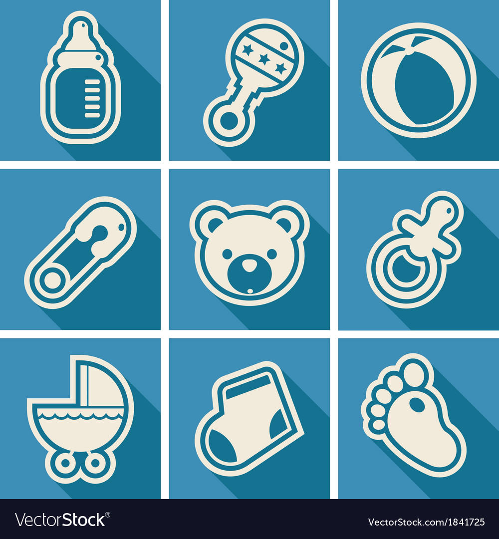 Baby shower square icons vector | Price: 1 Credit (USD $1)