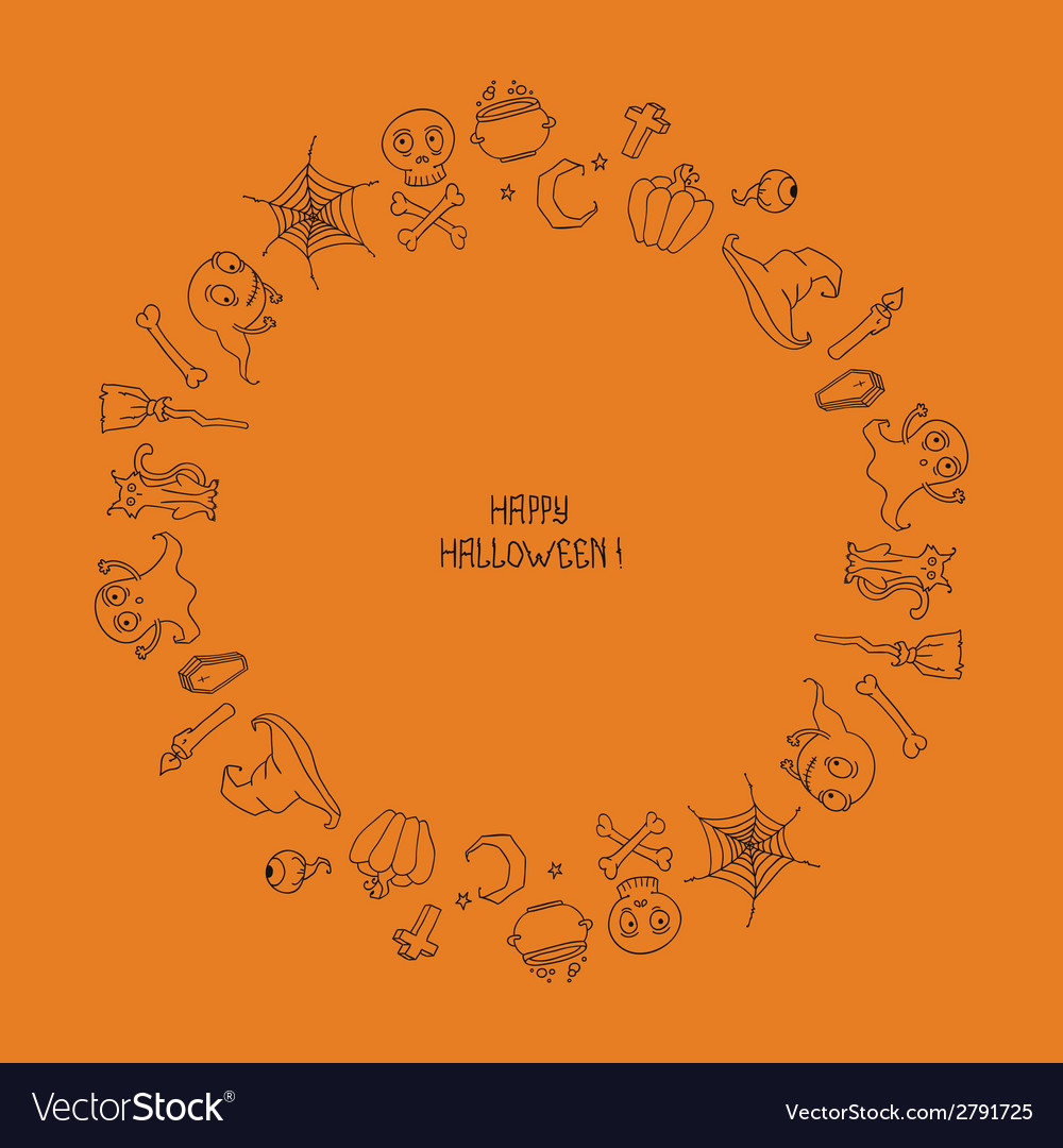 Beautiful frame happy halloween pattern with vector | Price: 1 Credit (USD $1)