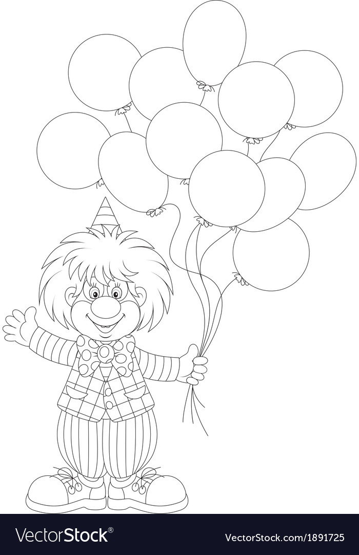 Clown with balloons vector | Price: 1 Credit (USD $1)