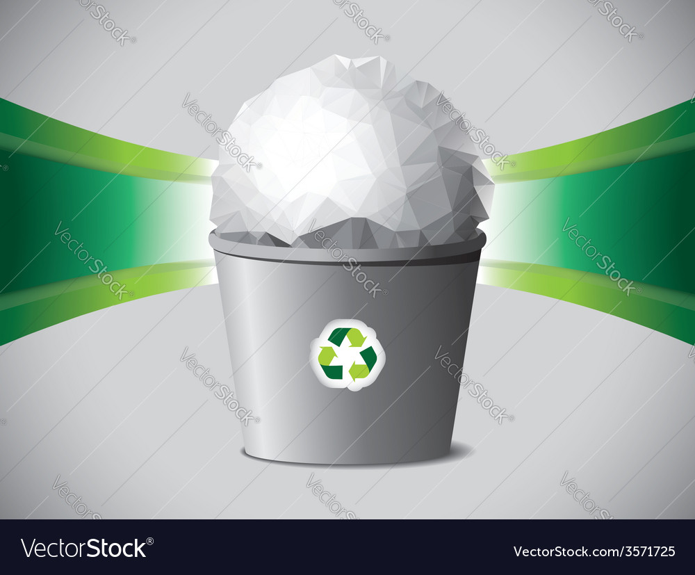 Crumpled paper ball in recycle bin vector | Price: 1 Credit (USD $1)