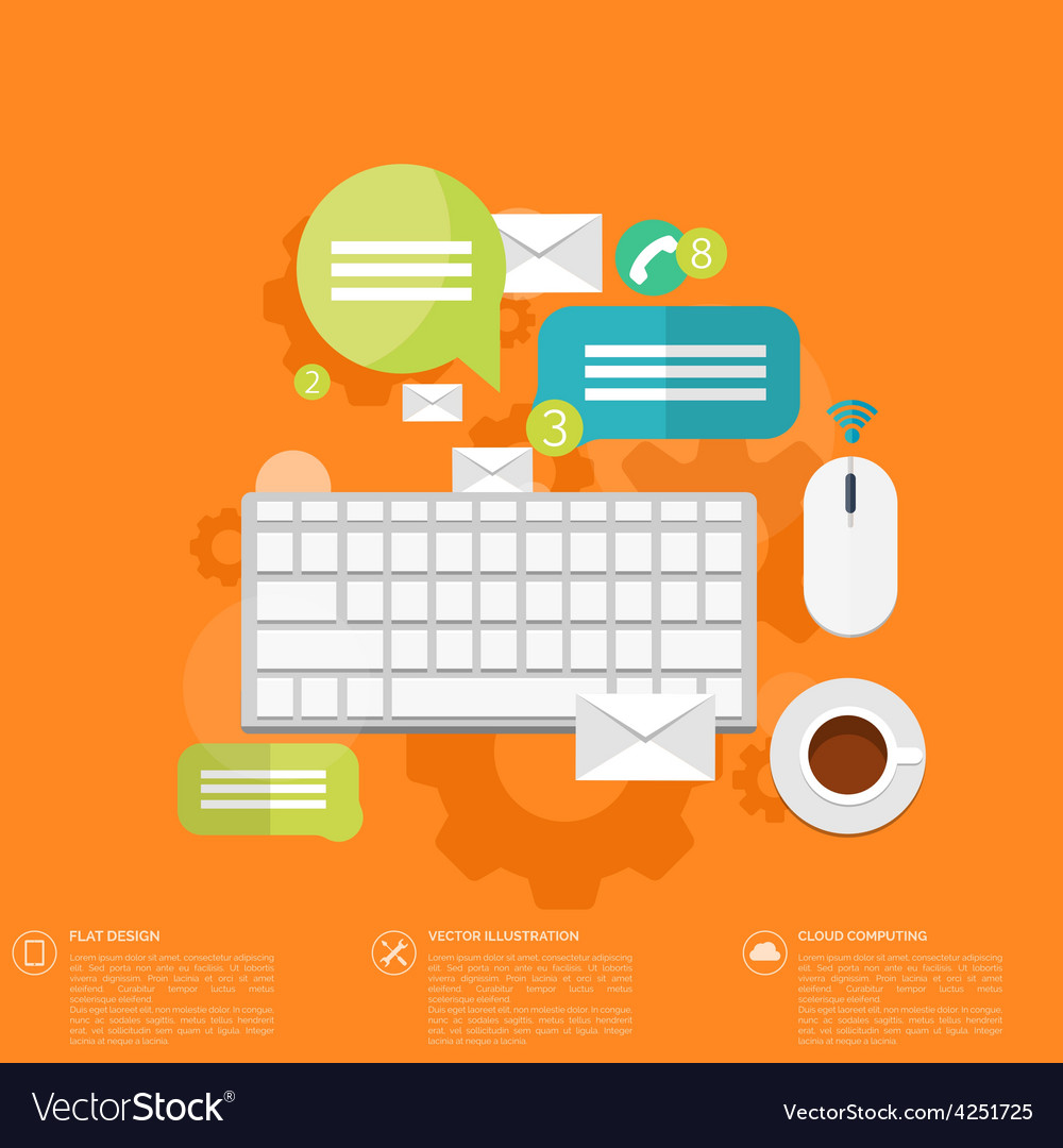 Flat keyboard icon contact social network vector | Price: 1 Credit (USD $1)