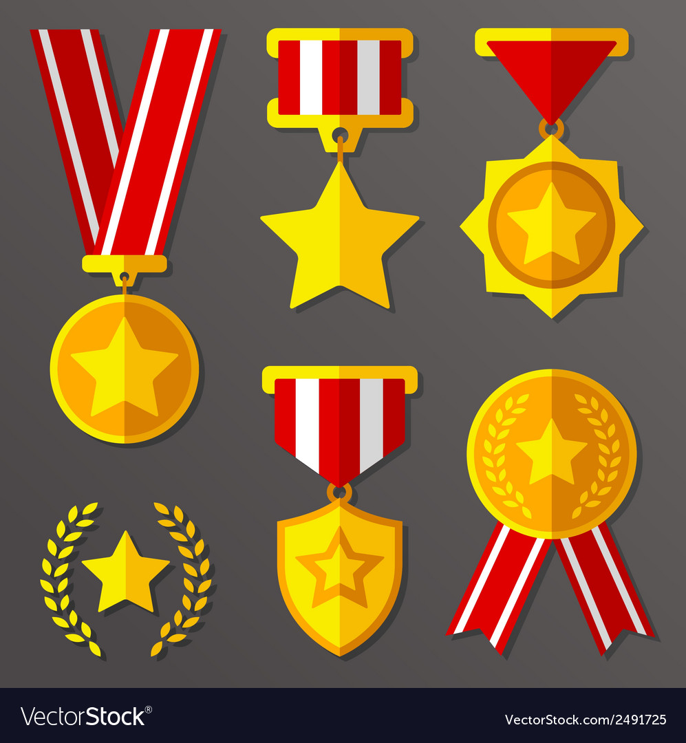 Flat medals and awards set with stars icon vector | Price: 1 Credit (USD $1)