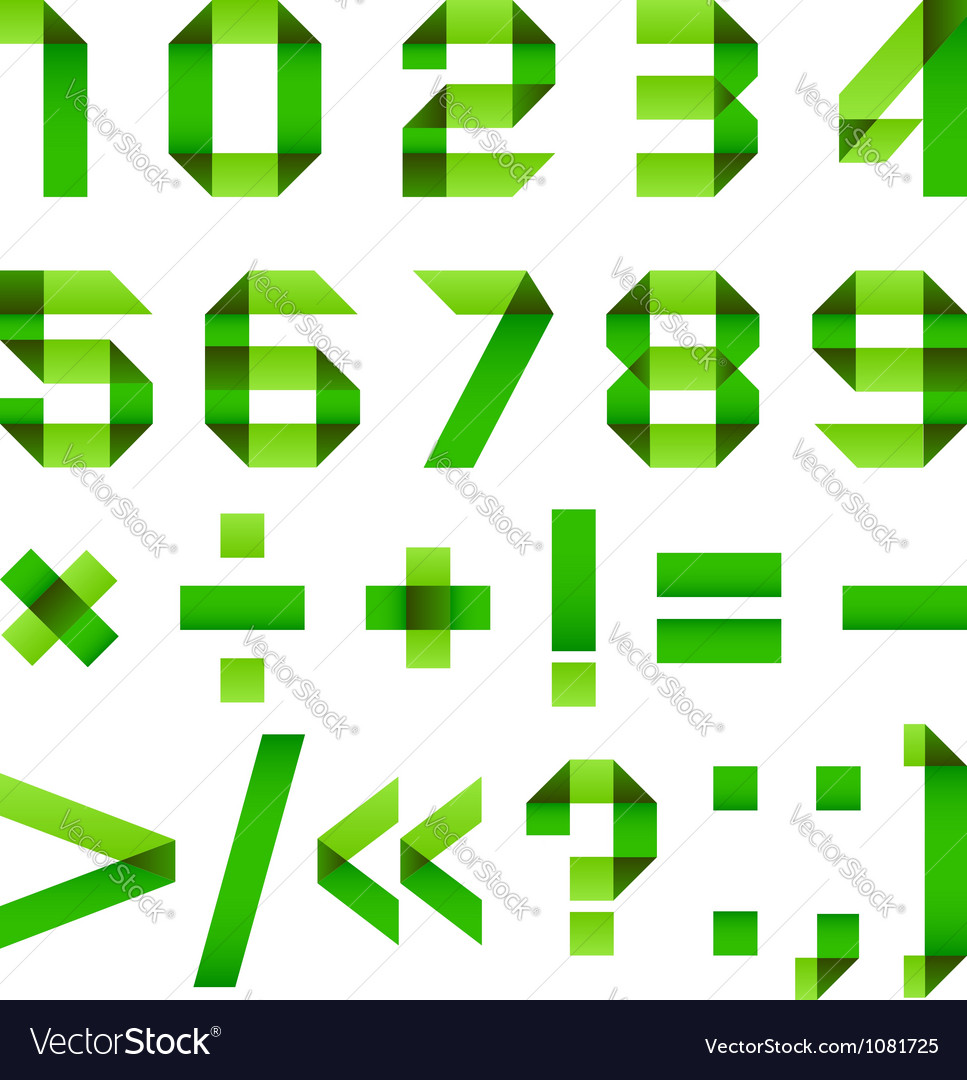 Font folded from green paper - arabic numerals vector | Price: 1 Credit (USD $1)