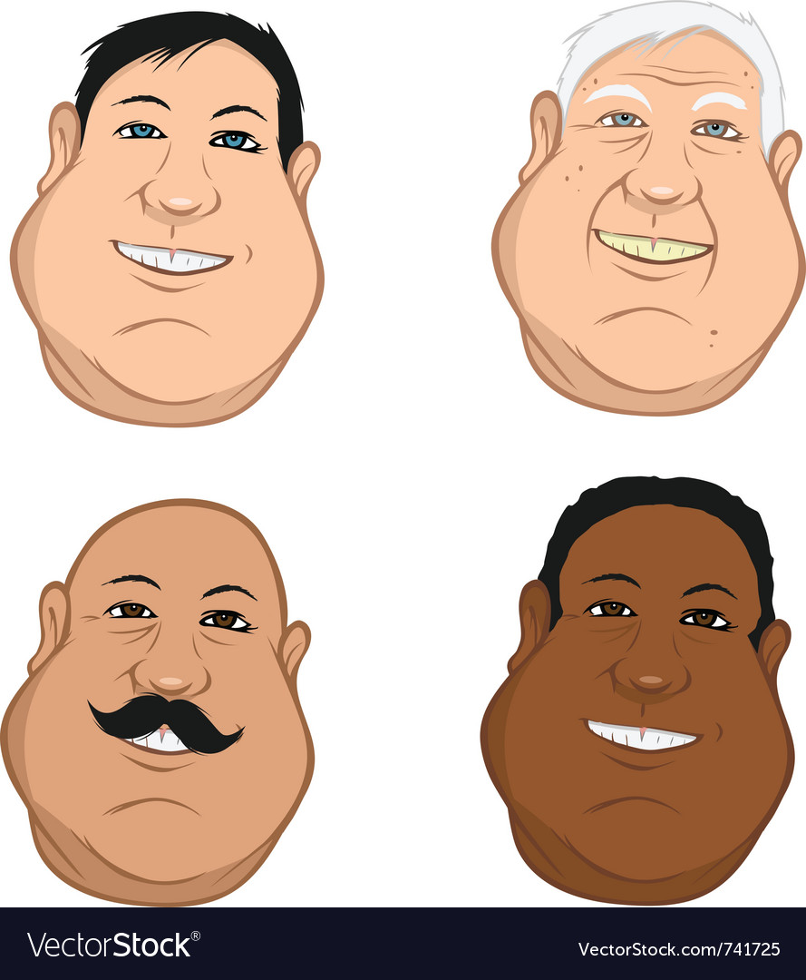 Male heads fat vector | Price: 3 Credit (USD $3)