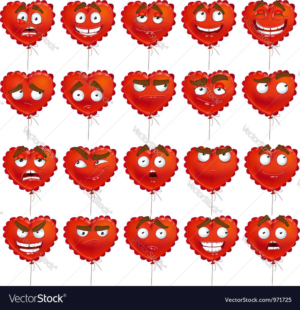 Red valentine balloon smiles set vector | Price: 1 Credit (USD $1)