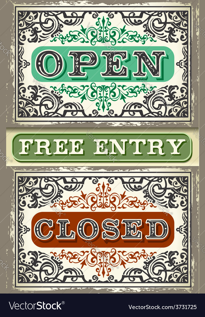 Vintage label set open closed free entry vector | Price: 3 Credit (USD $3)