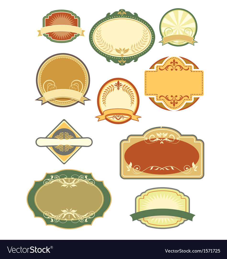 Vintage labels set 1 vector | Price: 1 Credit (USD $1)