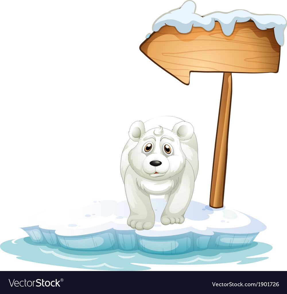 A polar bear below the wooden arrowboard vector | Price: 3 Credit (USD $3)