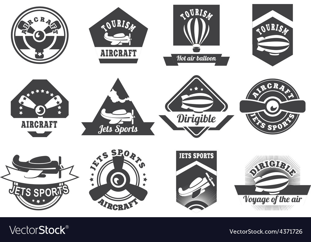 Aviation badges vector | Price: 3 Credit (USD $3)