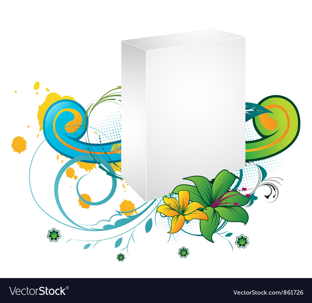 Blank 3d box with floral vector | Price: 1 Credit (USD $1)