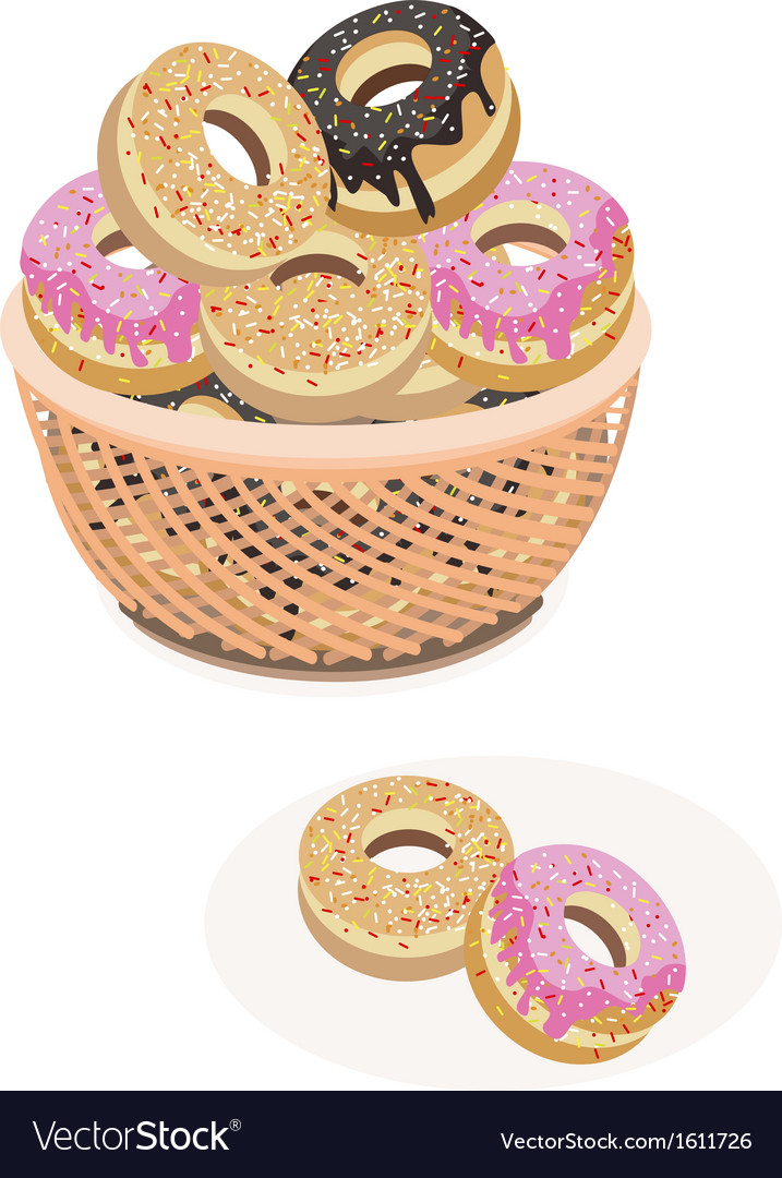 Glazed donuts assortment in a brown basket vector | Price: 1 Credit (USD $1)