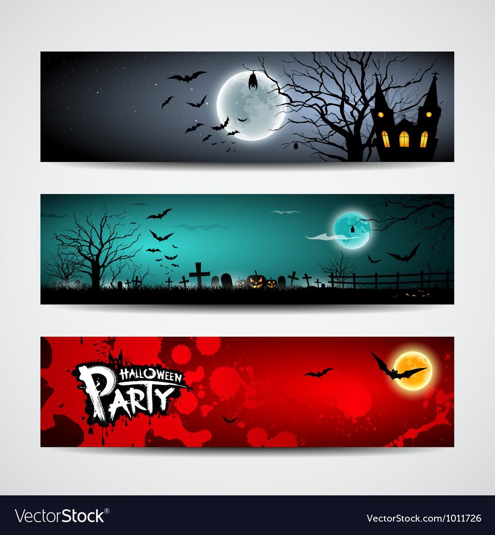 Happy halloween day banner set design vector | Price: 3 Credit (USD $3)