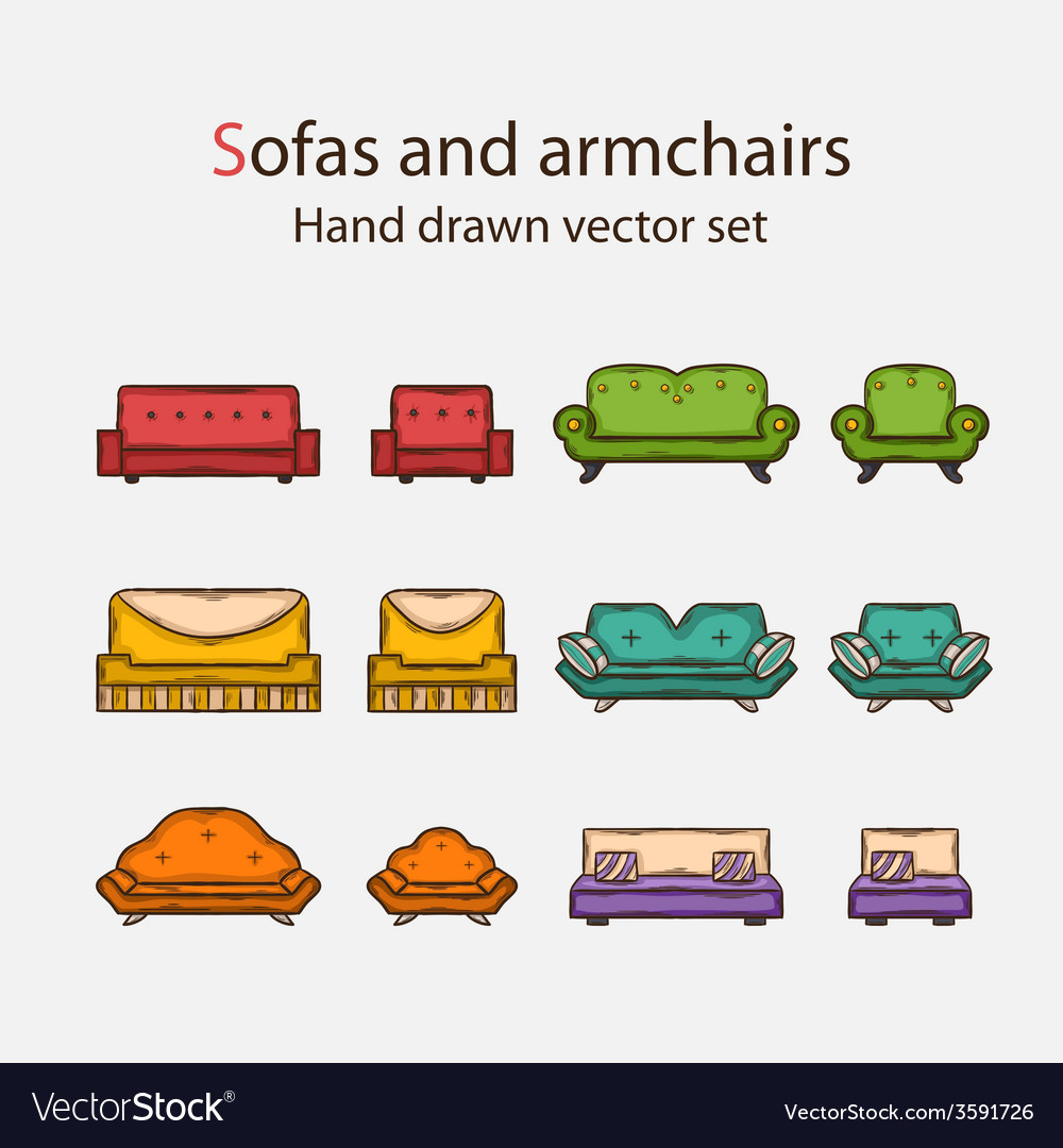 Icon set of sofas and armchairs vector | Price: 1 Credit (USD $1)