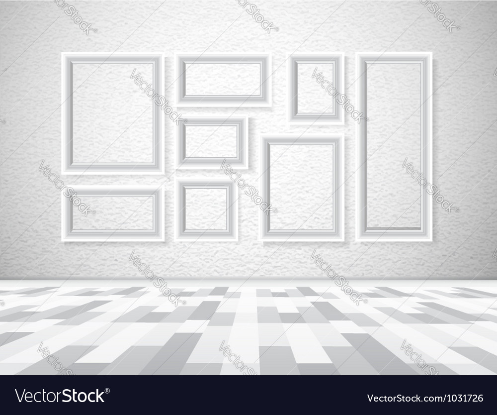 Interior picture frames on white wall vector | Price: 1 Credit (USD $1)