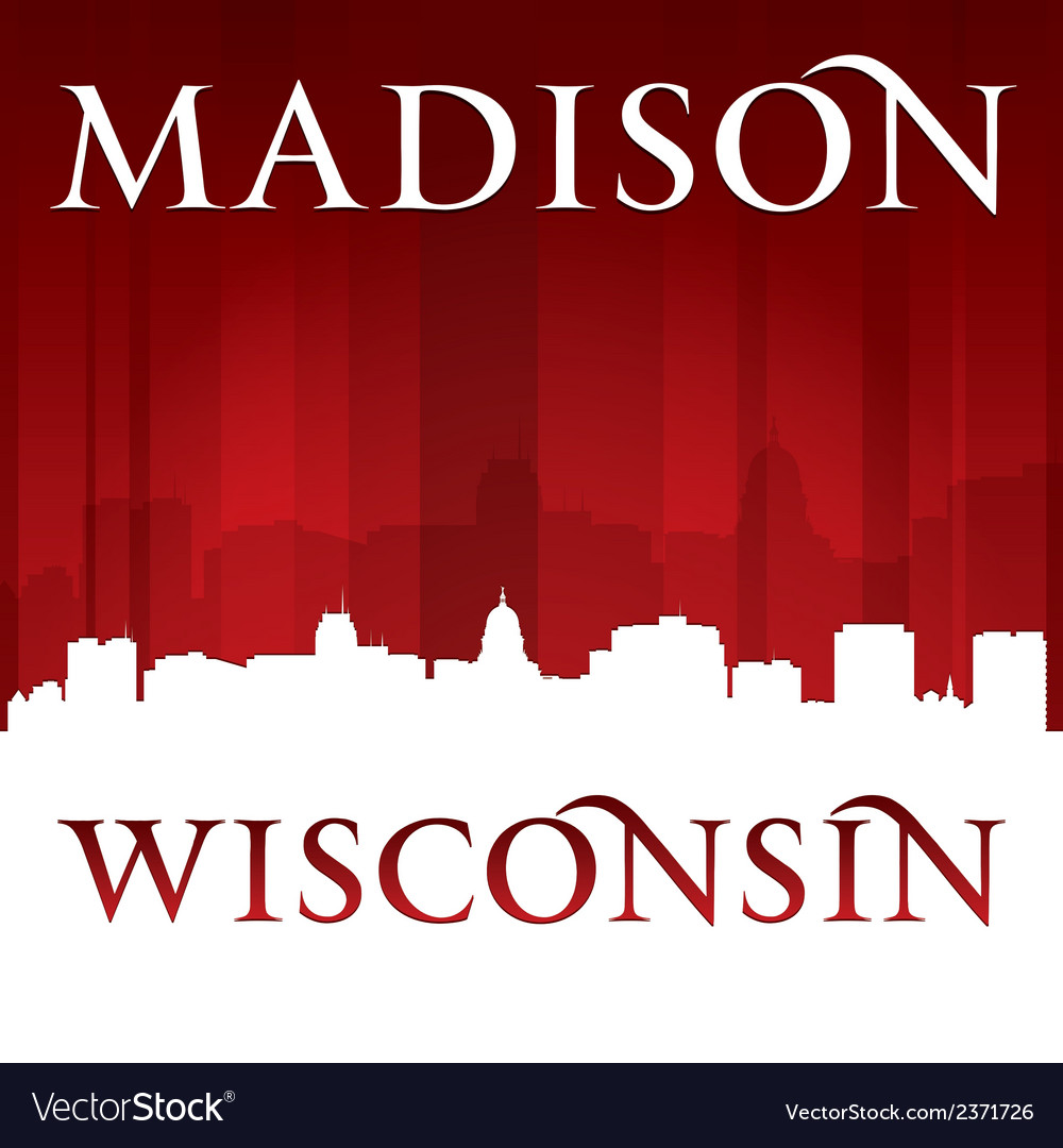 Madison wisconsin city skyline silhouette vector | Price: 1 Credit (USD $1)