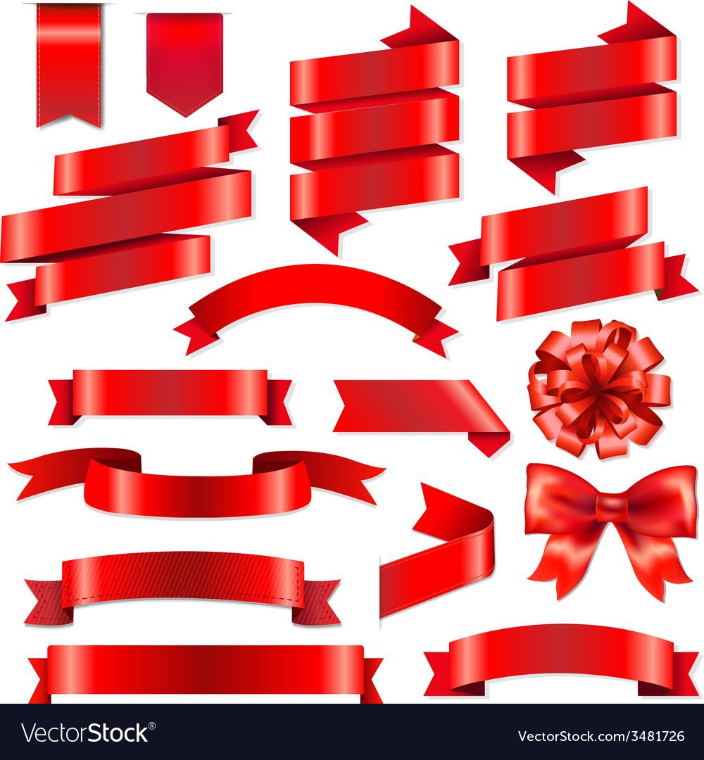 Red ribbons big set vector