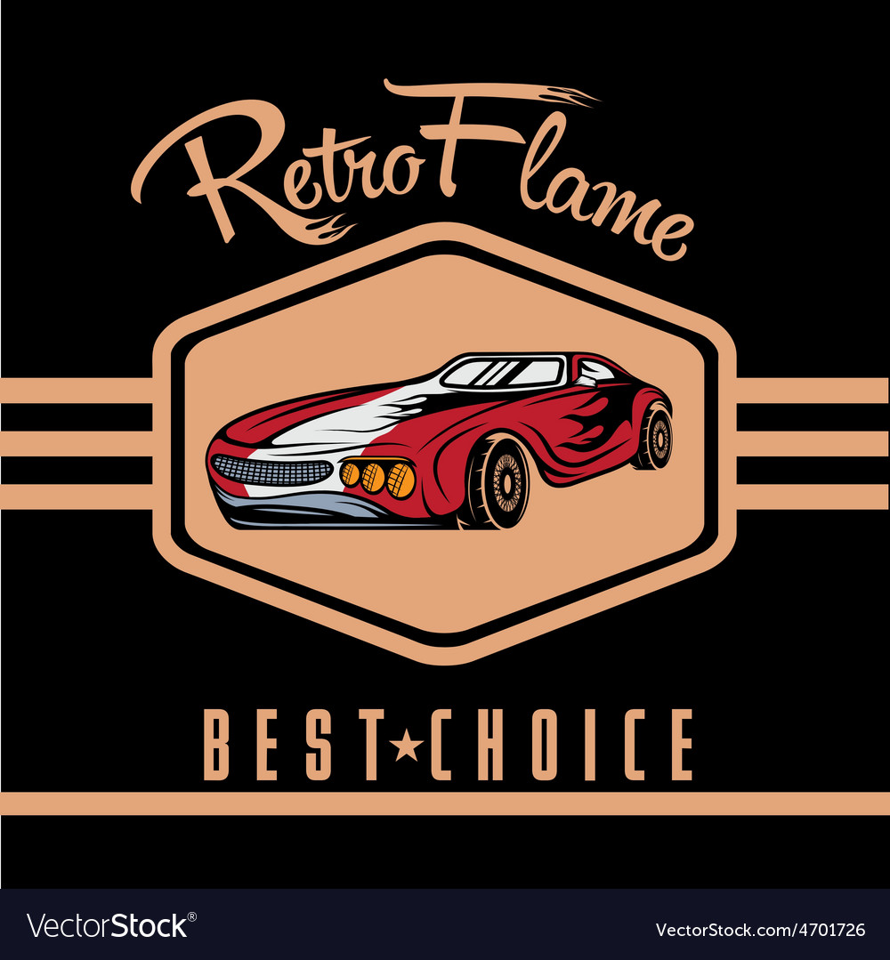 Retro sport car old vintage poster vector | Price: 1 Credit (USD $1)