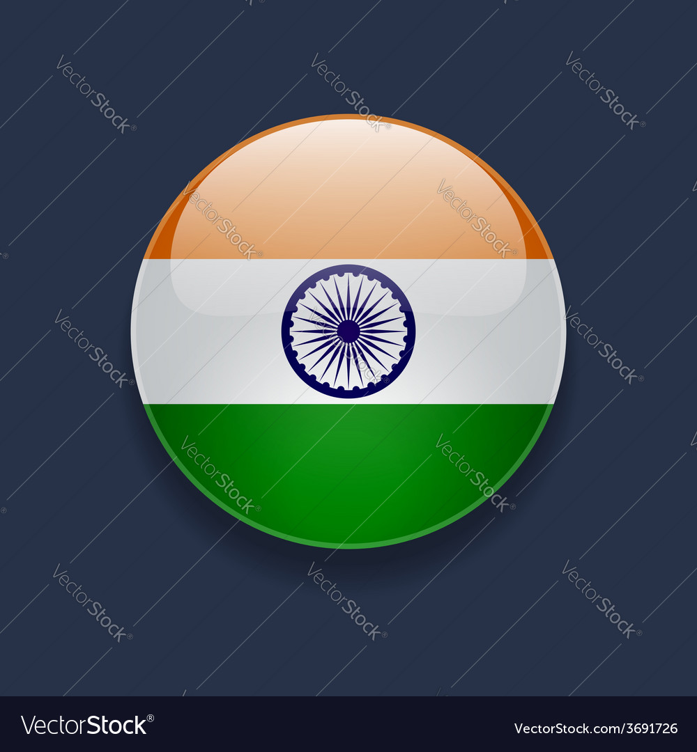 Round icon with flag of india vector | Price: 1 Credit (USD $1)