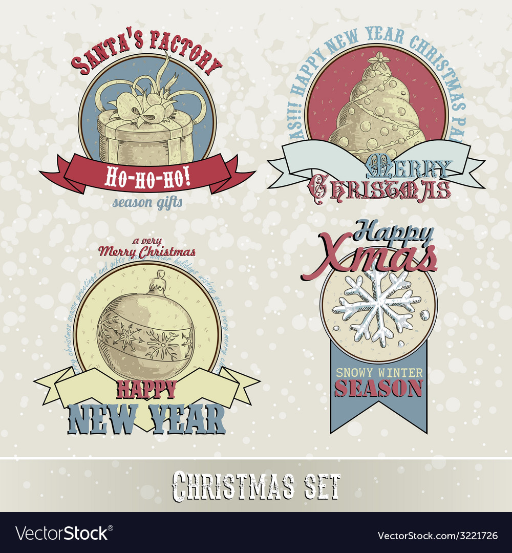 Set of christmas emblems and designs vector | Price: 1 Credit (USD $1)