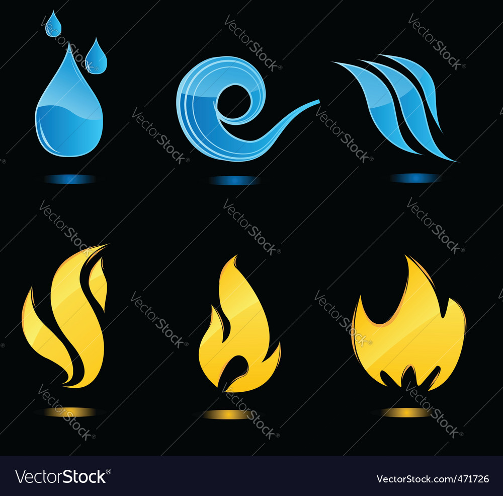 Water and fire glossy icons vector | Price: 1 Credit (USD $1)