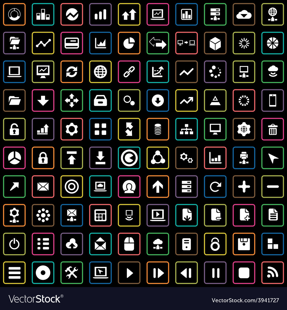 100 big data database icons set vector | Price: 1 Credit (USD $1)