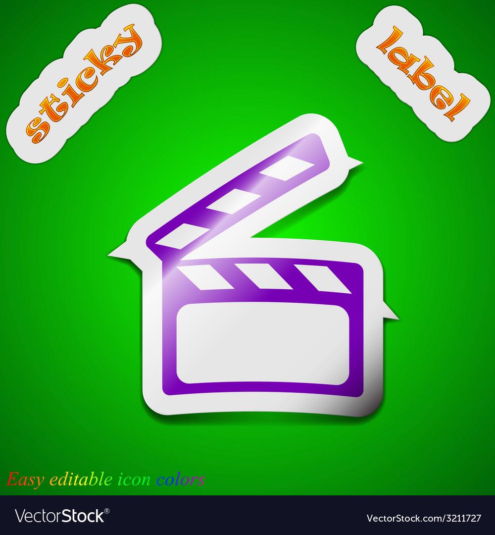 Cinema clapper icon sign symbol chic colored vector | Price: 1 Credit (USD $1)