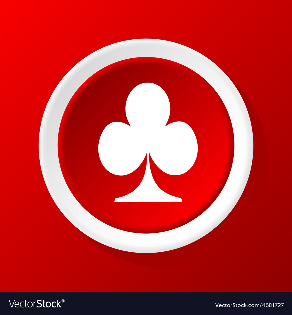 Clubs icon on red vector | Price: 1 Credit (USD $1)