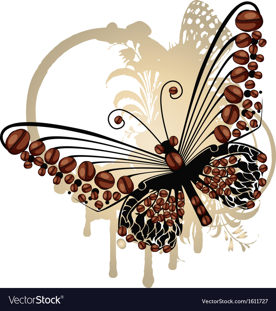 Coffee butterfly vector | Price: 1 Credit (USD $1)