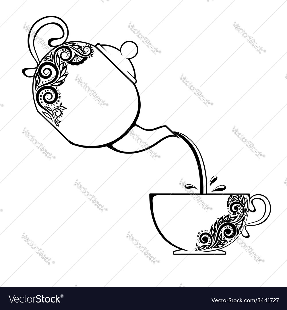 Cup and teapot with floral element vector | Price: 1 Credit (USD $1)