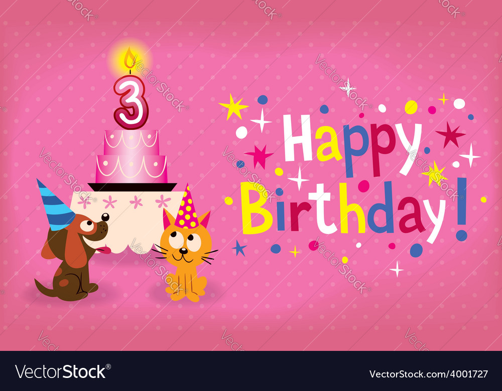 Happy third birthday card vector | Price: 1 Credit (USD $1)