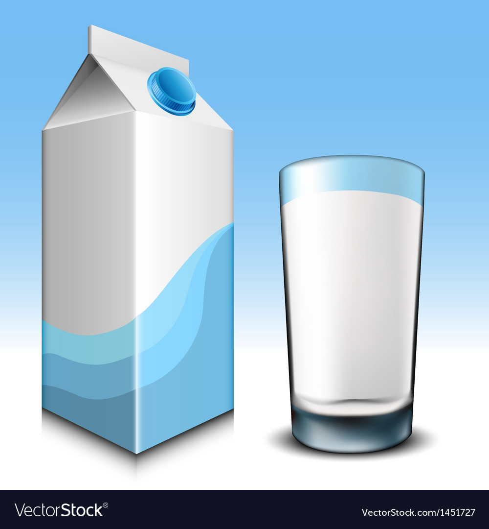 Milk carton with glass vector | Price: 1 Credit (USD $1)