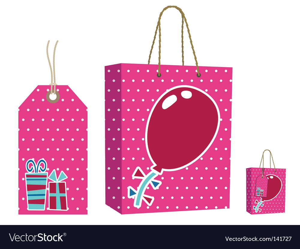 Pink bag and tag set vector | Price: 1 Credit (USD $1)