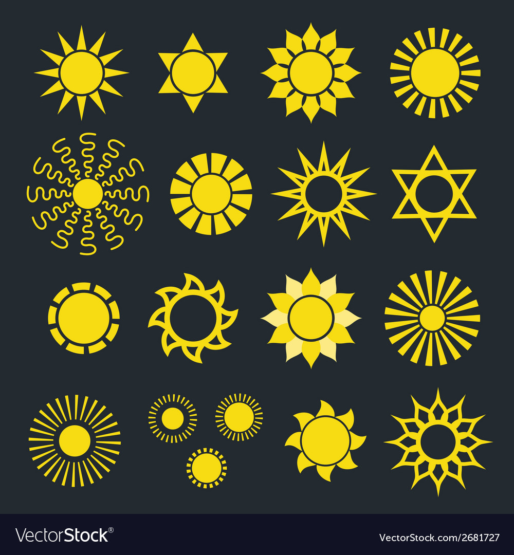 Set of abstract yellow sun icons with various rays vector | Price: 1 Credit (USD $1)