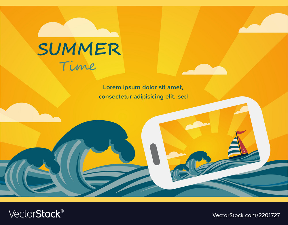 Summer tropical concept background smartphone make vector | Price: 1 Credit (USD $1)