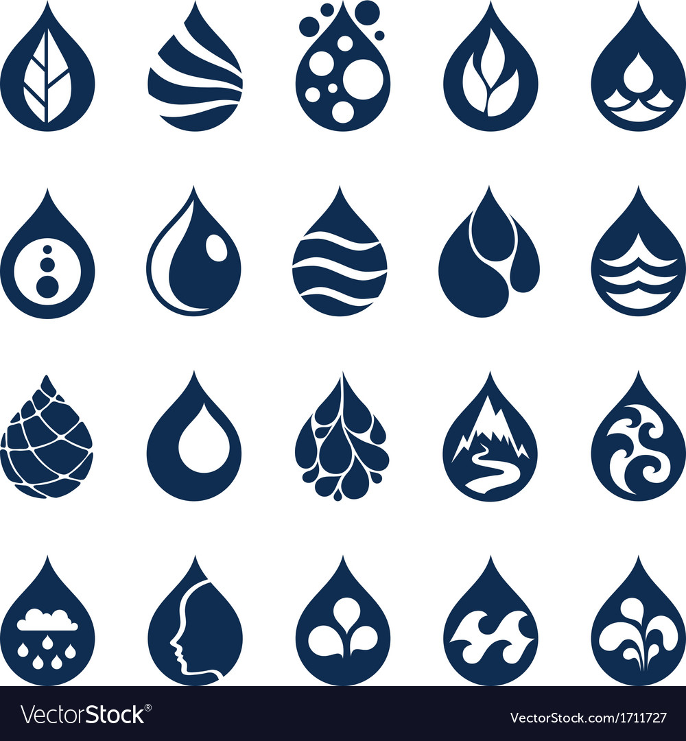 Water drop icons and design elements vector | Price: 1 Credit (USD $1)