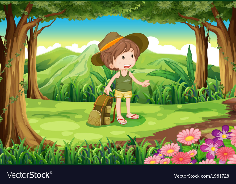 A lady with a backpack and a hat at the forest vector | Price: 1 Credit (USD $1)