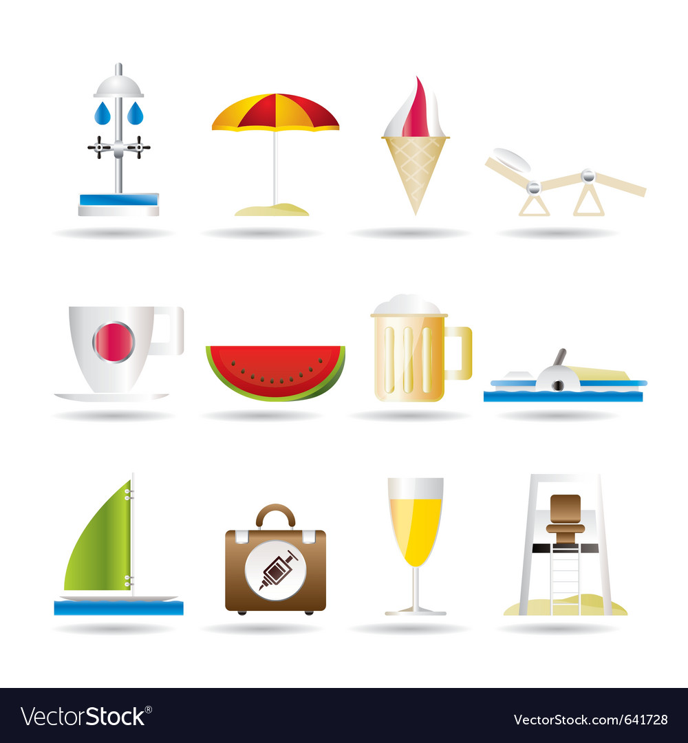 Beach and holiday icons vector | Price: 1 Credit (USD $1)