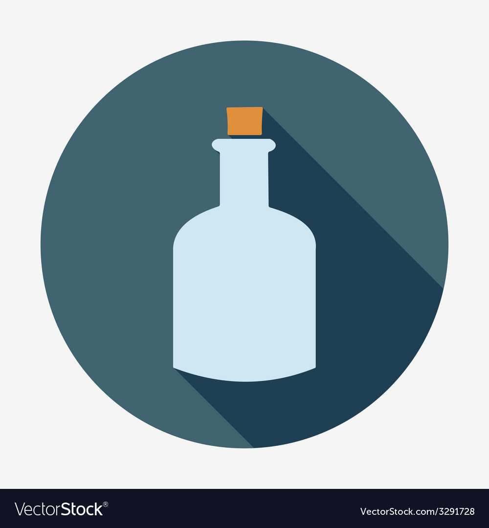 Bottle icon with long shadow vector | Price: 1 Credit (USD $1)