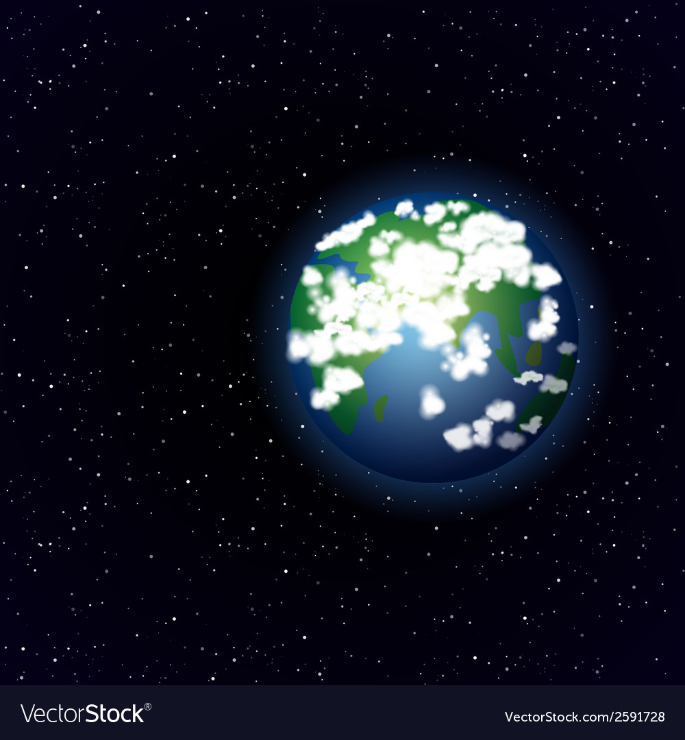Cartoon earth in open space vector | Price: 1 Credit (USD $1)