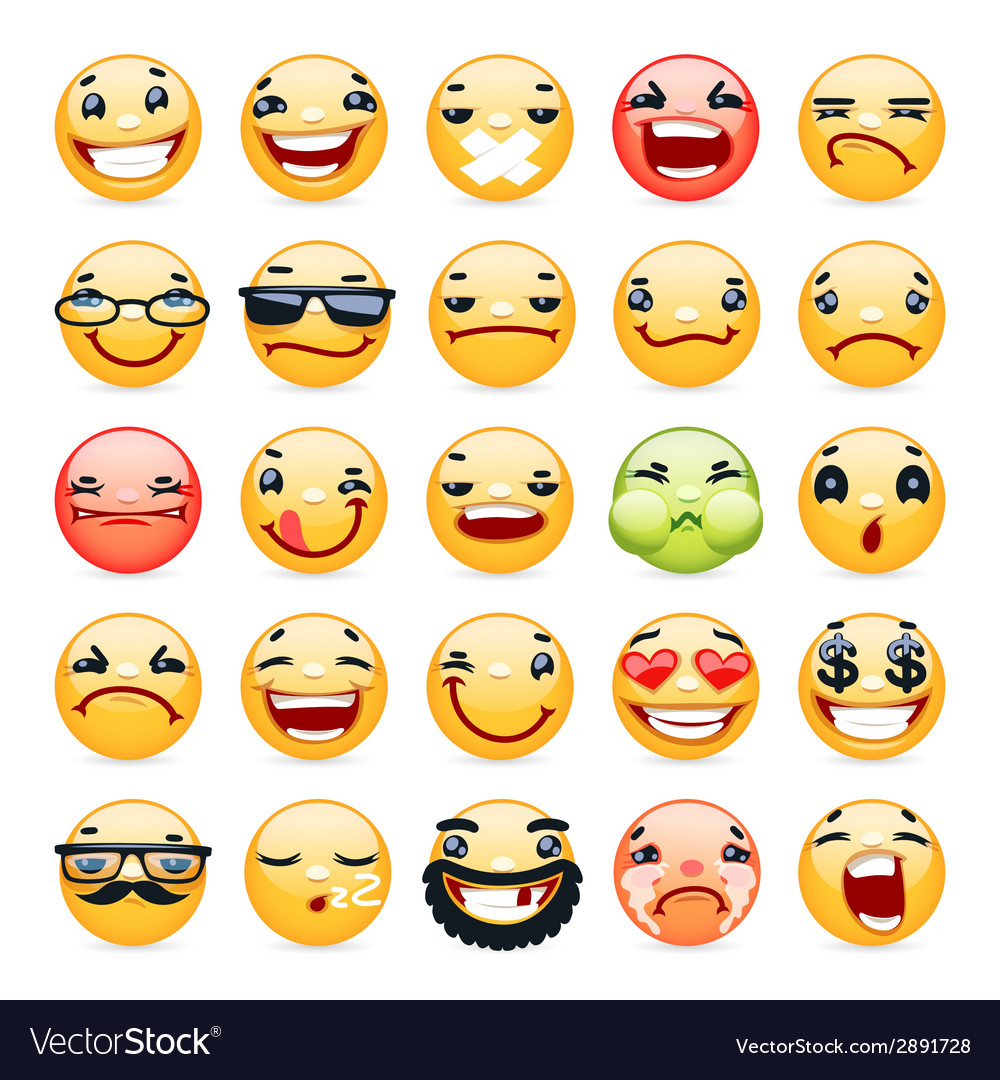 Cartoon facial expression smile icons set vector | Price: 1 Credit (USD $1)