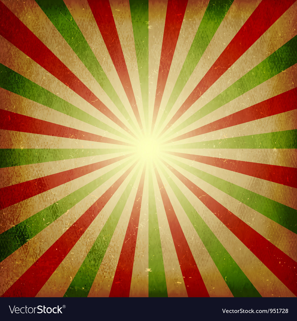 Distressed green red light burst background vector