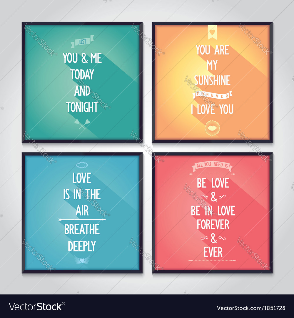 Love quote posters with flat design lettering vector | Price: 1 Credit (USD $1)