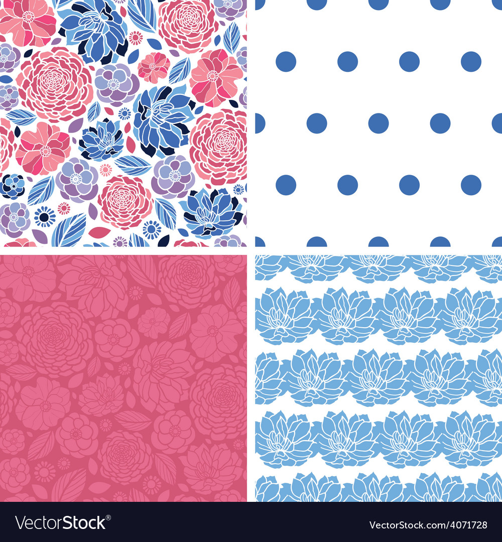 Mosaic flowers set of four matching repeat vector | Price: 1 Credit (USD $1)