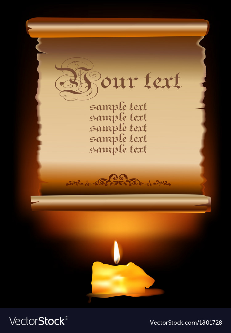 Old paper scroll with candle vector | Price: 1 Credit (USD $1)